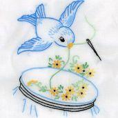embroidered bluebird