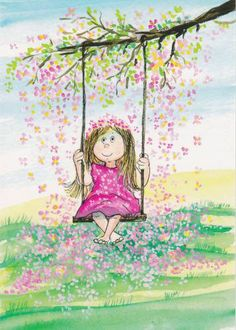 The swing illustration of Virpi Pekkala Art And Illustration, Illustration Mignonne, Art Fantaisiste, Art Mignon, Whimsical Art, Belle Photo, Cute Cartoon, Cute Drawings, Cute Art