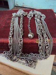 Vintage multi chain Necklace Chain Antique by primitivepincushion, $24.99