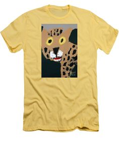 Patrick Francis Banana Designer Slim Fit T-Shirt featuring the painting Jaguar 2014 by Patrick Francis
