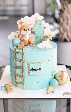 1st Birthday Cake Designs, Baby 1st Birthday Cake, Creative Birthday Cakes, Beautiful Birthday Cakes, Birthday Kids, 17th Birthday, Baby Boy Cakes, Girl Cakes, Cake Ideas