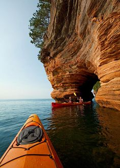 """Standing on this precipice, it feels like we've found the edge of the world..."" Explore the Apostle Islands and Bayfield, Wisconsin: http://www.midwestliving.com/travel/wisconsin/bayfield/notes-on-the-north-bayfield-wisconsin-and-the-apostle-islands #vacation #bayfield #wisconsin #apostleislands"