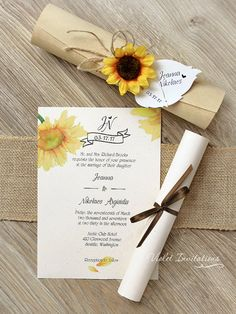 Items similar to 10 Rustic Boxed Sunflower Scrolls, Wooden Box Sunflower Wedding Invitations, Handmade Rustic Eco Twine Invitation Scrolls, Sunflower Scroll on Etsy Sunflower Wedding Decorations, Sunflower Wedding Invitations, Handmade Wedding Invitations, Rustic Invitations, Wedding Invitation Cards, Wedding Centerpieces, Wedding Cards, Scroll Invitation, Handmade Invitation Cards
