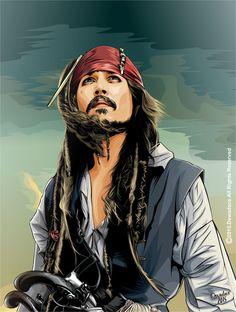 Jack Sparrow on Behance Jack Sparrow Dibujo, Jack Sparrow Drawing, Jack Sparrow Tattoos, Sparrow Art, Portrait Vector, Digital Portrait, Captian Jack Sparrow, Jack Sparrow Wallpaper, Johnny Depp Wallpaper