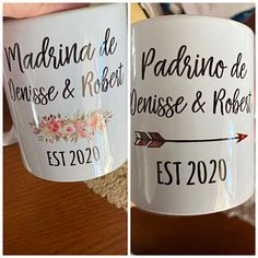 Personalized Madrina and Padrino Baptism mugs Godparent Gifts, Baptism Gifts, Christening Gifts, Baptism Favors, Personalized Coasters, Custom Coasters, Personalized Gifts, Wedding Coasters, Custom Mirrors