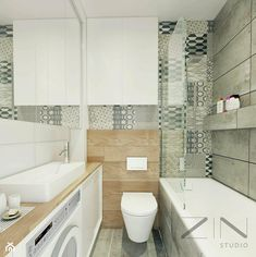 Apartment Jaworzno - Small bathroom in a block without window, Scandinavian style - photo from ZIN studio Small Bathroom, Bathroom Sinks, Bathroom Ideas, Malaga, Scandinavian Style, My Room, Sweet Home, Bathtub, Windows