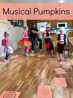 Musical Pumpkins - Grandma Ideas Here's a free printable for playing the game musical pumpkin. It's a variation of musical chairs but without chairs or children getting put out of the game. Preschool Halloween Party, Halloween Class Party, Halloween Games For Kids, Halloween Birthday, Halloween Activities, Halloween Ideas, Halloween 2019, Sleepover Party, Nightmare Before Christmas