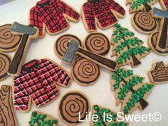Facebook.com/lifeissweetcookie. Lumberjack baby shower cookies