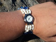 Blue & White Bead and Crystal 5 Strand  by SharisMixedBlessings, $31.00
