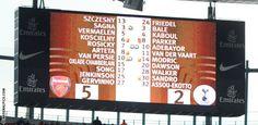 The scoreboard says it all!  Arsenal 5 - 2 Tottenham Hotspur  Sunday 26 February 2012