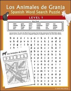 Printables Spanish Level 1 Worksheets word search puzzles spanish words and early finishers on pinterest animales de granja puzzle worksheet is designed for level 1 beginning students