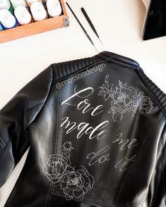 Mossoo bridal jacket! @mossoodesign #handpainted #bridaljacket #bohobride #bride #trashthedress Bridal Jackets, Painting Leather, Boho Bride, Bomber Jacket, Collection, Dresses, Fashion, Vestidos, Moda