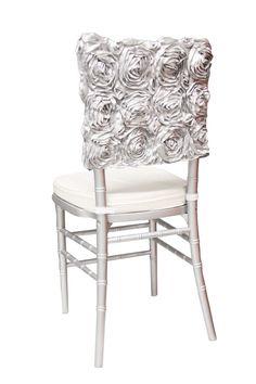 Satin Rosette Chiavari Chair Cap - Silver