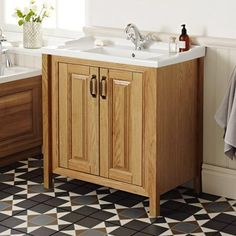 Grenville American Oak Solid Wood Vanity Unit with Ceramic Basin