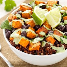 • ✨Sweet Potato and Black Bean Quinoa Bowl✨ Credit: spoonfulofflavor.com --- Ingredients- Roasted Sweet Potato: 1 large sweet potato, peel and diced 1 teaspoon extra virgin olive oil 1/2 teaspoon chili powder 1/4 teaspoon cumin 1/4 teaspoon kosher salt Quinoa: 3/4 cup red quinoa 1 3/4 cups water 1/2 teaspoon kosher salt, divided 1/2 teaspoon chili powder 1/2 teaspoon cumin 1/4 teaspoon garlic powder Juice of half a lime 2 tablespoon cilantro, chopped Cilantro Cream Drizzle: 1/4 cup plain…