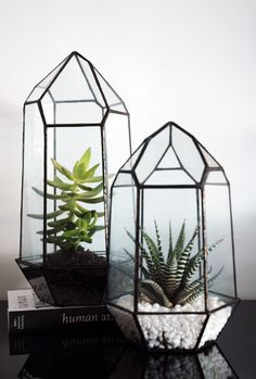 Large Geometric Glass Terrarium / Crystal by WhiteLiesJewelry