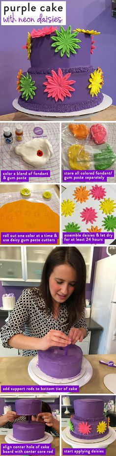 DIY Purple Cake with Neon Flowers: Here's a step-by-step tutorial on how to make…