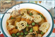 I Get It From My Mamma: Yummy In Your Tummy Veggie Soup For Kids Soups For Kids, Kids Soup, Veggie Soup, Healthy Recipes, Healthy Meals, Macaroni And Cheese, Veggies, Favorite Recipes, Vegan