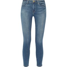 Frame Denim Le Skinny de Jeanne Crop mid-rise jeans ($200) ❤ liked on Polyvore featuring jeans, blue, skinny fit jeans, cropped skinny jeans, blue jeans, skinny leg jeans and medium rise jeans