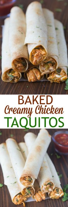 Shredded chicken, cheese, and a creamy salsa blend melt together inside a crispy toasted tortilla. Baked Creamy Chicken Taquitos is an easy meal you can make in less than 30-minutes! | Tastes Better From Scratch