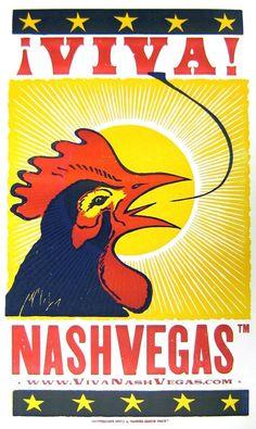 VIVA NASHVEGAS TM Crowing Rooster LetterPress Poster by Hatch Show Print, Nashville via Etsy
