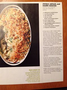 Chicken, spinach and noodle casserole