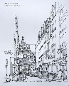 钢笔手绘巴黎建筑5    陈新生作品