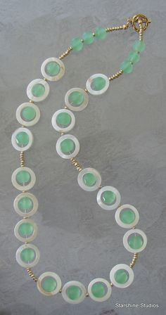 """18"""" beaded necklace. Abalone shell & faceted glass."""