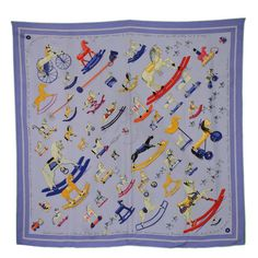 Hermes Periwinkle 'Raconte-Moi Le Cheval' 90 cm Silk Scarf For Sale at 1stdibs