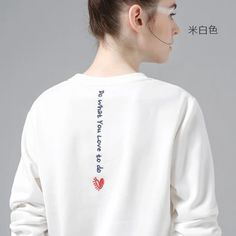 Toyouth White Sweatshirts Hoodie Women 2018 Letter Embroidery Long Sleeve Tracksuit Female Casual Basic Pullovers Tops Woman Sweatshirts brand name white sweatshirt woman Pimp Your Clothes, Diy Clothes, Embroidery On Clothes, Embroidered Clothes, Embroidery On Tshirt, Hoodie Sweatshirts, Sports Sweatshirts, Diy Sweatshirt, Shirt Designs