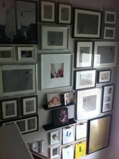 13 foot high stairway gallery wall using only Ikea frames.