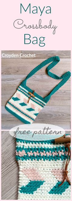 Crochet this fun and easy Maya Crossbody Bag pattern that incorporates both traditional and tapestry techniques. A free pattern by Croyden Crochet. Tutorial Cross Body Maya Crossbody Bag - A free pattern by Croyden Crochet Crochet Eyes, Bag Crochet, Crochet Market Bag, Crochet Shell Stitch, Crochet Gratis, Crochet Handbags, Crochet Purses, Crochet Baskets, Purse Patterns Free
