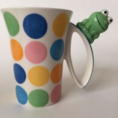 INDRA CERAMIC POLKA DOTS COLORFUL GREEN FROG COFFEE TEA MUG CUP HAND PAINTED