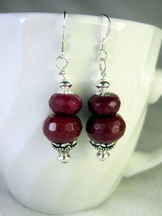 Handmade Sterling Silver Dangle Earrings with by CraftySchmantzy