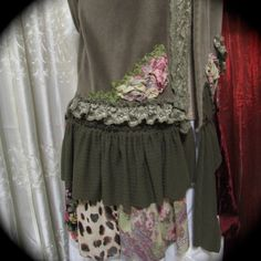 Hippie Bohemian Sweater, soft cottons, gypsy clothing, earth tones, refashioned ooak, MEDIUM