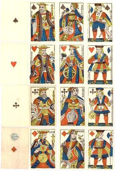 French-suited playing-cards in the Paris pattern appeared in Switzerland around the end of the sixteenth century, when many Lyonnais cardmakers were driven away by heavy taxes. Tarot Card Decks, Tarot Cards, Medieval Games, Fortune Telling Cards, Playing Card Games, Queen Of Hearts, Deck Of Cards, Samurai, Bridge
