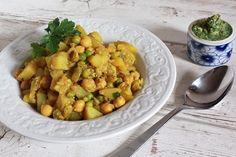 Potato Chickpea Masala with Cilantro Curry