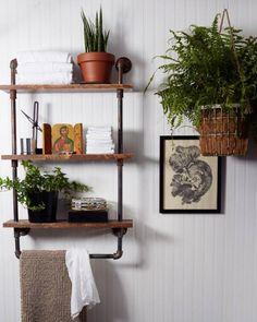 Rustic Towel Holder / Bathroom Shelf
