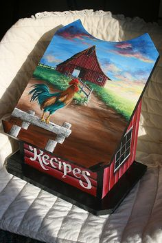 HAND PAINTED MORNING SUNRISE RECIPE BOX