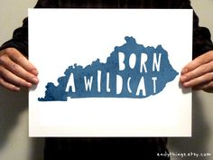 KENTUCKY Born a Wildcat 11x14 Typography Print by EndyThings