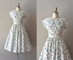 vintage dress / cotton dress / Among the Bluebells dress Day Dresses, Summer Dresses, Vintage Dresses 50s, Vintage Fashion, Vintage Style, 1950s, Floral Prints, Short Sleeves, Skirts