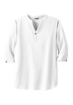 Kingsize Men's Big & Tall Gauze Mandarin Collar Shirt, White Tall-2Xl