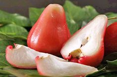 Have you tried this exotic fruit: Rose Apple ? Exotic Food, Exotic Fruit, Tropical Fruits, Rose Apple Fruit, Apple Roses, Fruit And Veg, Fruits And Vegetables, Tamarin, Veggies
