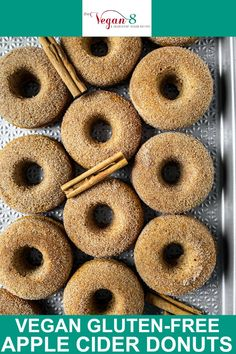 Learn how to make the most delicious Vegan Apple Cider Donuts gluten-free and oil-free! These donuts are so soft, fluffy and moist, baked and not fried. It is hard to believe they contain no oil and no butter! They are rolled in apple pie spice sugar for delicious flavor!