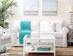 Bright Beachy Living Room Ikea Style... With DIY Knitted Throw For A Splash