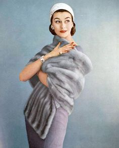 Anne Gunning in a blue mink stole by Maurice Kotler jewellery by Cartier, photographed by Virginia Thoren,1956