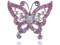This fun and flirty ring is designed in silver-tone alloy metals and features a large, radiant butterfly with rose pink and clear crystal rhinestone wings. This is an adjustable ring that is approximately 2 inches in width and 1.5 inches in length.
