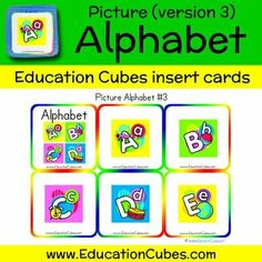 Picture Alphabet (version 3) Cubes, Alphabet, Education, Learning, Pictures, Shopping, Photos, Alpha Bet, Studying