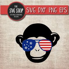 34034368c713 Patriotic Monkey - July 4th - America - Flag Glasses - Summer - Svg Dxf Png  Eps - Clipart - Cut File