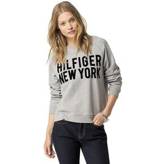Tommy Hilfiger Hilfiger New York Sweatshirt ($100) ❤ liked on Polyvore featuring tops, hoodies, sweatshirts, sweat shirts, graphic sweatshirts, tommy hilfiger, graphic tops and white sweatshirt
